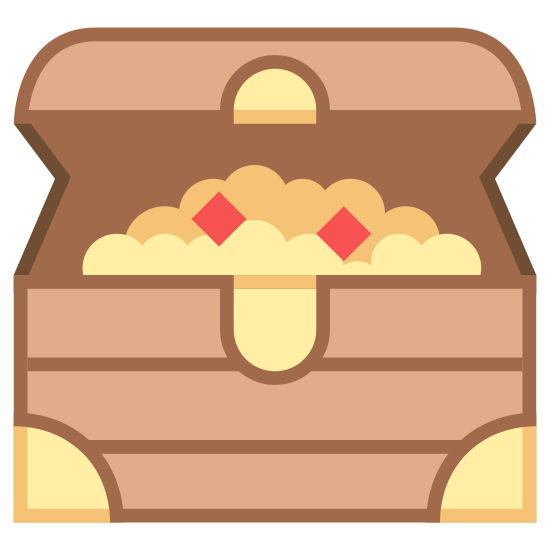 Treasure Chest icon. The icons shape is a rectangle with two circle segments at the bottom right and left corners, a semi oval at the top center with a dot in the middle. On top of the rectangle is a cloud like shape the looks like it is popping out the top. Two other rectangle shapes make up the lid of the icon.