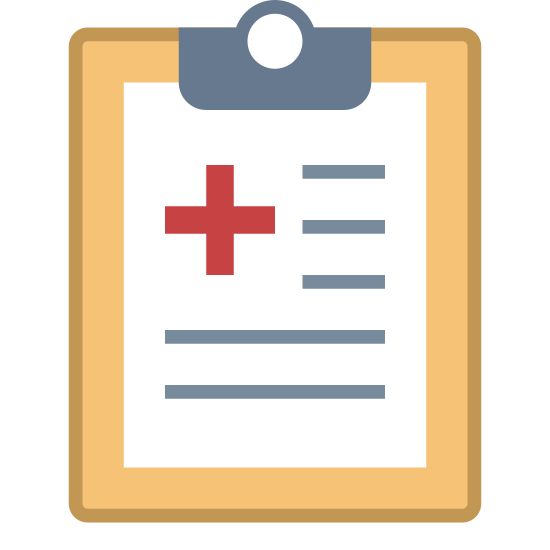 Treatment icon. It's a logo for a treatment plan with a clipboard with a paper. The clipboard is rectangular in shape and has a smaller rectangle on top to depict the clip. There is a piece of paper on the clipboard with a plus sign and vertical lines to show writing.