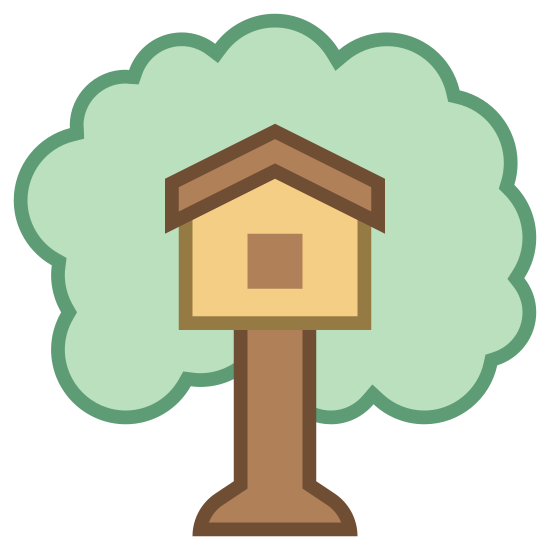 Домик на дереве icon. This icon represents treehouse. It is a rectangle with a large flat bottom and a square on top. It has a wavy line all the way around the house representing a tree top. The square in the middle has a triangle top and a smaller square inside.