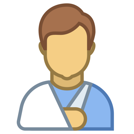 Sick icon. A graphic of the top half of a person. Their right arm is in a sling that hangs off of their right shoulder. It tapers outwards as it goes down, providing support to the entire forearm.