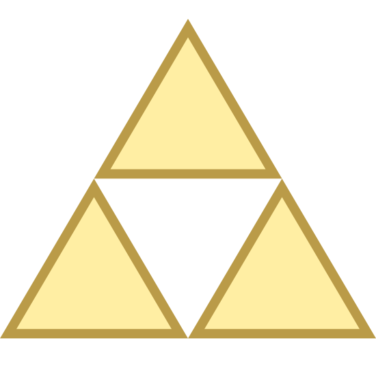 """Triforce icon. The icon is a depiction of the triforce, a game element from the popular video game series """"The Legend of Zelda"""" produced by Nintendo. The triforce is itself composed of three triangle arranged to form a new triangle with a triangle-sized gap at the center."""