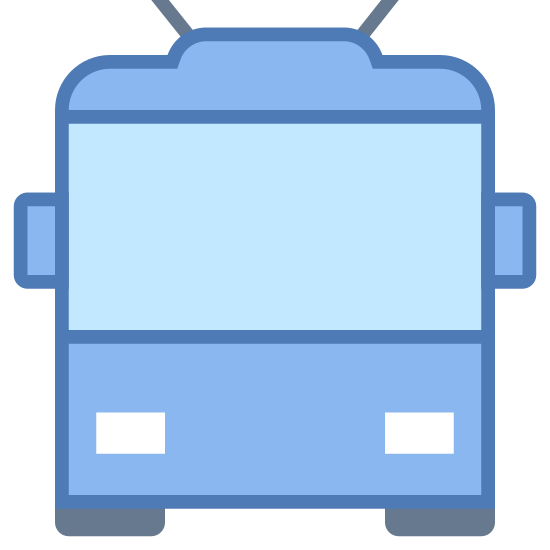 Trolleybus icon. This is a picture of a trolley facing towards you. The window in front is very large, and it has two small antenna on top. There are two headlights, and you can see the wheels on bottom
