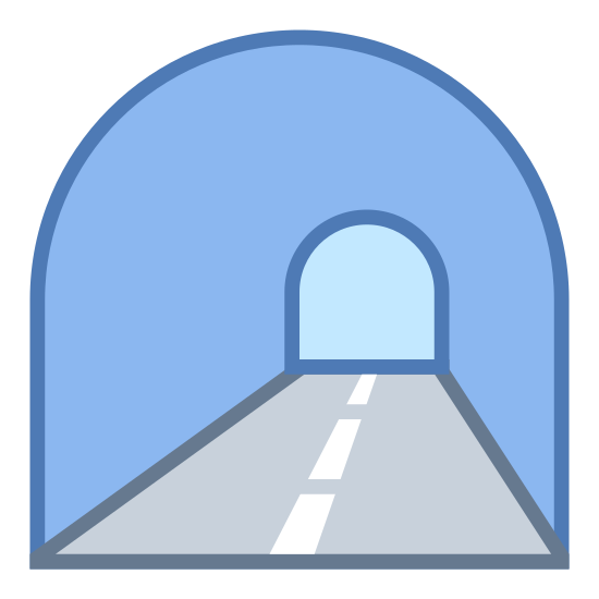 "Tunnel icon. This icon represents a tunnel. It has an outline of a tunnel that looks like a ""C"" pointing downwards. There are three dashes below the ""C"" shape to depict where the road is."