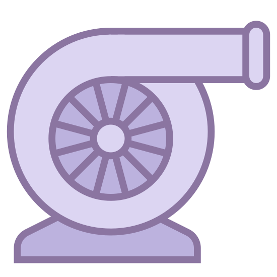 Turbocharger icon. The icon has a triangular base at its bottom. On top of this is a circular shape, like the bell of a trombone, facing to the right. In the center of this snail shell like tube is a circle, with a six pointed star, making it look like a gear in the middle.