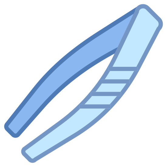 Tweezers icon. This icon represents tweezers. It is two long lines coming together at the top. The bottom of the lines are very thin and come to a point. The lines are large at the top and continue to get smaller as they go down.