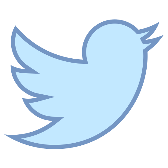 Twitter icon. This logo for twitter is a stark minimalist outline of a bird. It is the profile of a little canary like bird in profile. It shows a tail, a wing with three feathers, and an open beak as if twitting.