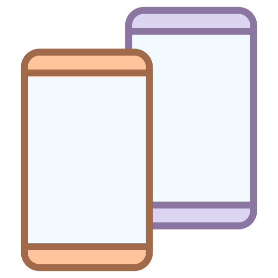 Mobile icon. The icon is shaped like two horizontal rectangles. Inside each rectangle are smaller rectangles that start at the top and end almost at the bottom right before meeting a dot and the bottom center. Both rectangles are the same size but the left one is partially hidden behind the right one.