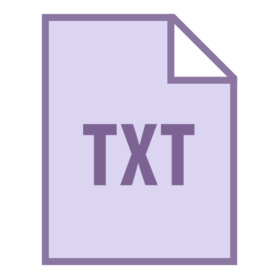 """TXT icon. This is an image of a piece of paper with the letters """"T,X,T"""" on it. In the upper right hand corner of the piece of paper there is an earmark."""