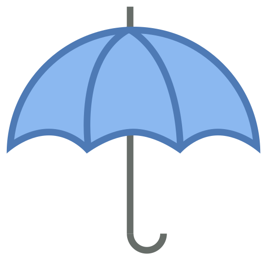 "Paraguas icon. The icon is an umbrella.  The umbrella has three small arches and a handle curved like the letter ""j"".  There is also a small antenna like spoke on the top."