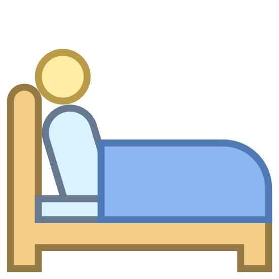 Insomnia icon. The image is of a bed with a person on it. The bed has a headboard which is on the left side. The profile of the person is shown as they are sitting up on the bed with their back to the headboard. They are facing right.
