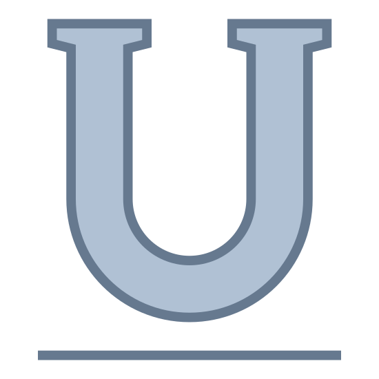 "Подчеркивание icon. The Icon ""Underline"" consists of the outline of a capitalized letter ""U"" in bold. Beneath his has been placed a bold line drawn horizontally signifying an underlined letter."