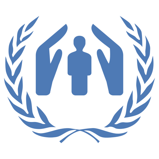 UNHCR icon. This is a image of a two dimensional human figure.  On the left and right side of the figure are the profiles of hands, two hand shapes total.  Surrounding these figures are two olive branches.