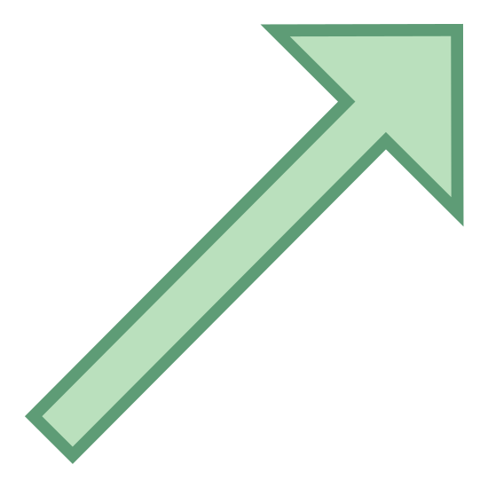 W górę w prawo icon. It's an arrow pointing straight up and angled to the right.  The direction that could also be used to describe this arrow is much like you would see if looking at a compass and it pointed to a north east direction.