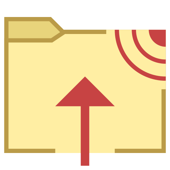 Upload To FTP icon. There is a folder, there is an arrow drawn over the folder that starts at the bottom and is placed right in the middle of it pointing upwards. In the upper right corner of the folder there is several beaming diagonal lines that look like WiFi or some wireless signal.