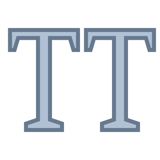 Wielkie litery icon. The icon is depicting two uppercase letter 'T's' side-by-side. There is a small gap in between each of the letters, and each letter is an outline of the letter, not completely filled in.