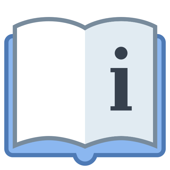 User Manual icon. This icon for User Manual looks like an open book. The cover of the book looks like a rectangle with rounded edges, and two pages are visible, separated by a line in the middle of the pages. On the page on the right, there is a large lower case letter i.