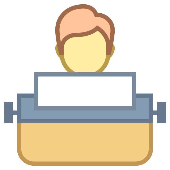 User Typing Using Typewriter icon. The icon is a simplified view of an androgynous humanoid sitting behind a typewriter. The typewriter has a sheet of paper loaded into it, and only the head of the humanoid is visible above it. The icon represents a user typing using an old-style typewriter.
