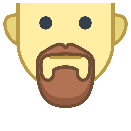 Van Dyke icon. This logo is of a man's face, cutting off the top of his head. He has two beady eyes, two ears, and a mustache with a goatee around his mouth. There is a plain expression on the face, not showing any interest.
