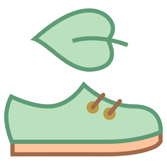 Vegan Shoes icon. It's a logo for vegan shoes with a leaf floating above a shoe. The leaf is facing to the left, with the stem on the right. The shoe is facing to the right.