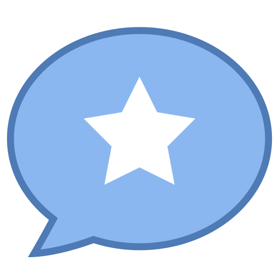 Very Popular Topic icon. This icon is a speech bubble in the shape of a circle with a star in the center of the bubble. The speech bubble is circular with a curved point at its bottom coming from the bottom left. Inside the bubble is a filled-in star with five points.