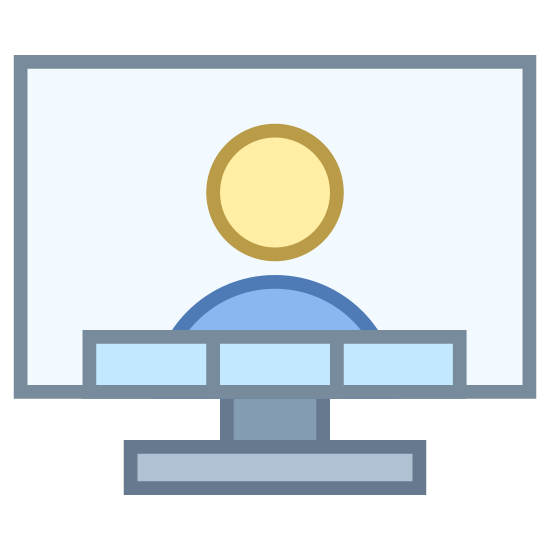 Video Conference icon. This is a picture of an LCD television with a person on the screen. underneath the person is four blocks in a horizontal pattern. you can see the base of the tv is flat.