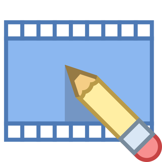 Videobearbeitung icon. This icon for video editing depicts a flat section of a roll of film. The film is rectangular in shape, with tiny rectangles running along the entire top and bottom. There is also a pencil situated at the bottom of the roll of film, which is partially on the film.