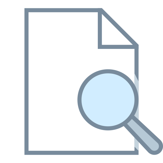 View icon. This is an icon representing viewing a file. There is a rectangular piece of paper with a folded over corner in the top-right that makes a triangle. A magnifying glass covers the bottom-right portion of the paper.