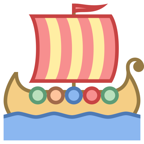 Barco vikingo icon. The Viking ship has an extended front with the water dragon style horn. A large mast holds a single white sail that has be furrowed into the wind. At the top of a mass a single flag waves.