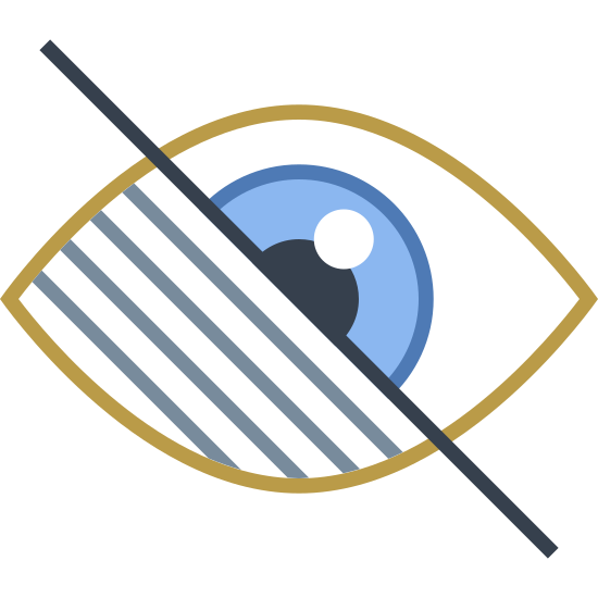 Visualy Impaired icon. The first portion of the icon is a diagonally line that runs through the second portion as if it is striking through the background, second portion. The second portion is shaped like a human eye where one side, the left side has three smaller diagonal lines. The right side of the eye is a normal eye with the pupil a semi circle running into the diagonal line strike through.