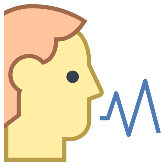 Voice icon. This logo displays an outline of a male human head with its mouth slightly open, as if speaking. From the mouth, a zigzag pattern emerges, which is signifying sound waves travelling outward.