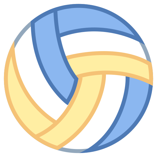 Volleyball icon. A volleyball is a sphere like ball that is very smooth and glossy. It is shiny in sunlight, and sometimes comes with patterns across it with small grooves throughout the sphere. The sphere is filled with air, and is used for sports.