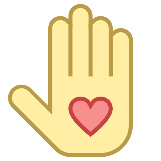 Bénévolat icon. This is a picture of a right hand with it's fingers all sticking straight up. in the palm of the hand is a heart. the thumb is kind of sticking out to the side.