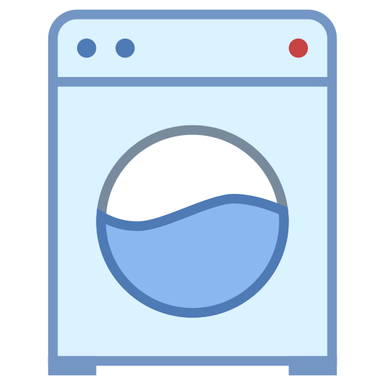 Washing Machine icon. The washing machine icon's main shape in a square.   It is slightly taller than wide.   In the center of this square is a circle which represents the window of a front loading machine.  Across the center of the circle is a squiggly line to show a water line.   In the upper right corner on the square are two dots.  The two dots represent two control buttons for the washer.