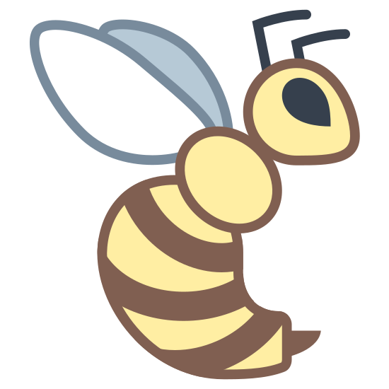 Wasp icon. The icon is a picture for the logo Wasp. The icon is a what appears to be the shape of a flying insect. If I had to take my guess, I'd say the insect was a flying wasp. The wasp is facing to the right.