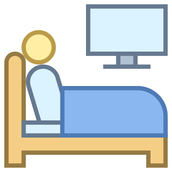 Watch TV icon. The image is of a person sitting up in bed. On one side of the bed is a television. The person is sitting with their back against the headboard of the bed. The TV is just suspended in air. It's not touching anything.