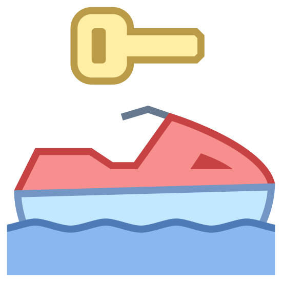 Water Sport Rental icon. Its a logo of a jetski riding in water. Above the jetski riding in the water is an icon that almost looks like the head of a bird. By this I mean a head with an eye, and a beak.