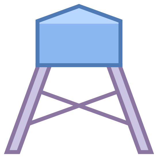 Water Tower icon. This is a drawing of a water tower with a big bass on the top with a bit of a roof shape that comes to a point. On the bottom there are long extenders holding the tower high above the ground.