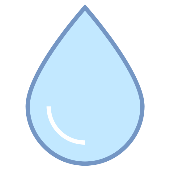 """Water icon. This icon representing """"Water"""" is circular with a ninety degree angle formed on top, creating a teardrop or raindrop shape. Inside the shape is a curved line, indicating the round shape of a water droplet."""