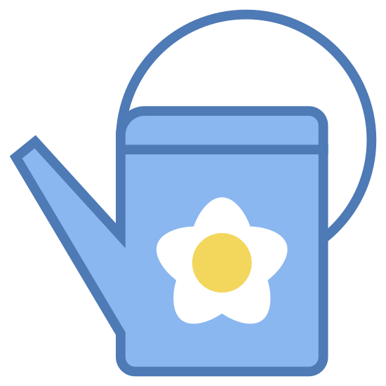 Konewka icon. This icon is a watering can.  The body of the can is a partial square with the right angle being at the top right.  Over the right angle of the square is a curved line for the handle.  On the left side of the partial square is a protruding rectangle shape with a rounded edge, meant to be the portion of the can that lets out water.