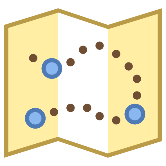 Mapa de localização icon. It's a Waypoint Map icon. There is a map folded vertically, but opened somewhat, enough to see three location points plotted on it and a path between the three points marked with a spaced line.