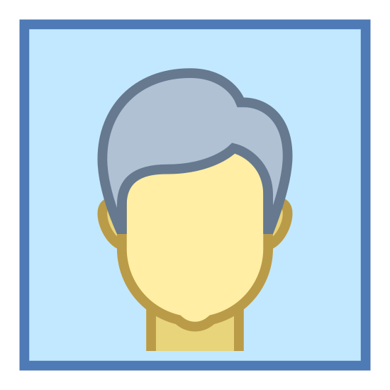 Video Chat icon. There is a square but it is a bit soft at the edges. inside of the square, there is a shape of a human man head. you can see ears, head, neck.