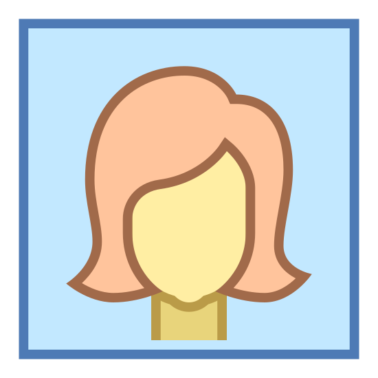 Webinar icon. This appears to be the head of a human female inside of a square. The edges of the square are rounded. She has no facial features. Her hair comes down to her shoulders.