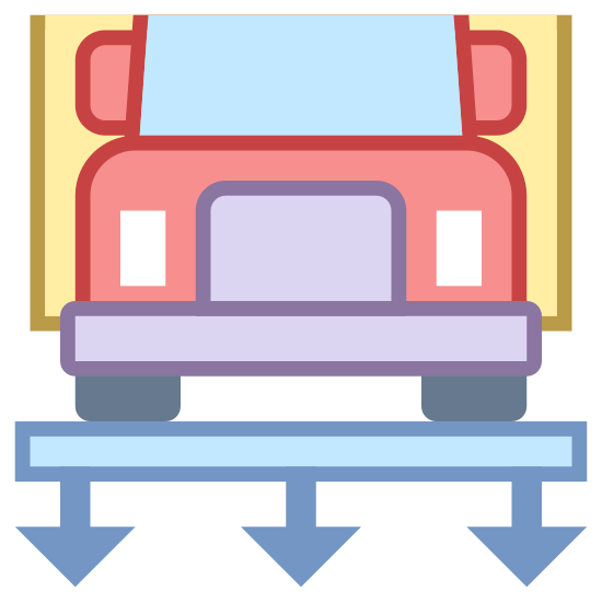 Weight Station icon. This image is depicting a truck resting on top of a platform. Below the platform are three downward facing arrows as if to indicate this is a weigh station. Only the front of the truck is visible.
