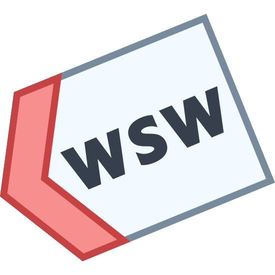 """West South West icon. This is a picture of a tag with it's right hand side completely gone. inside the tag are the letters """"WSW"""" all in capital letters. the tag is pointing to the bottom right hand side."""