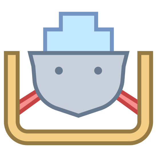 Przystań icon. The icon is a picture of a wharf. The icon is in the shape of what appears to be a beat inside of a docking type of station. The boat looks to be held down by either ropes or chains to the bottom siding of the docking station.