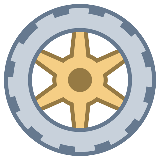 Koło samochodowe icon. Wheel is a circle with multiple layers of steel rims. The outler layer extends to all six sides while the inner layer is just circular.