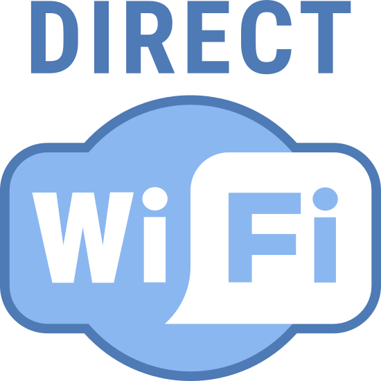 "Wi-Fi Direct icon. This logo features the words ""DIRECT"" in all capital letters directly above a logo that says ""WiFi"". The ""WiFi"" part is in a cloud shaped design, with the ""Fi"" part inside of a square-shaped speech bubble."