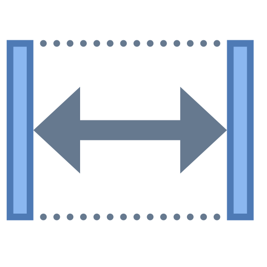 Width icon. The icon is comprised of two vertical lines, separated by a long expanse. Two dotted lines bridge the corners of the vertical lines, with a double-headed arrow stretching across the middle of the two lines. The icon represents the width, or horizontal distance, of an element.