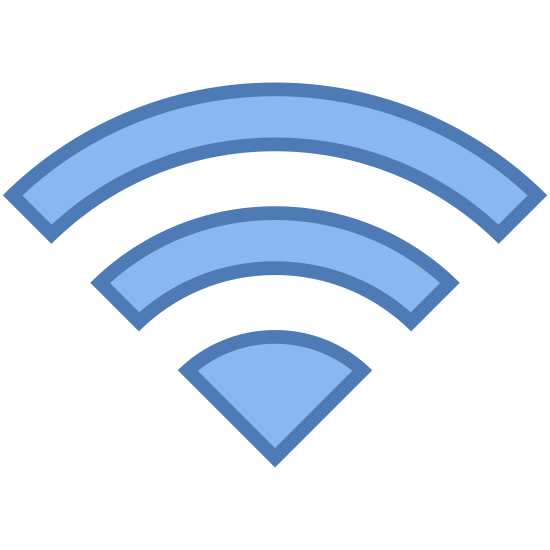 Wi-Fi icon. If you were to take a circle and then surround it with two more concentric circles and then take the top 25% the same way you would take 25% of a pizza, then you have this image. It's the classic wi-fi symbol.