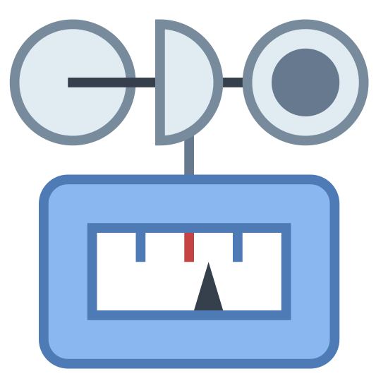 Wiatromierz icon. The icon shows a wind gauge. It's a device used to measure wind speeds. It has a machine with a display at the bottom, and a circle of cups at the top that will spin when the wind blows.